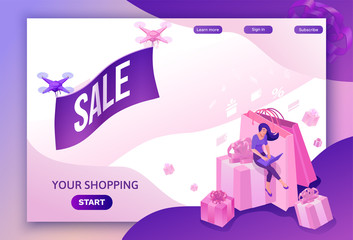 Drone flying with poster, isometric sale design, online offer concept for ecommerce discount campaign, cyber monday or black friday landing page template, 3d vector illustration with people