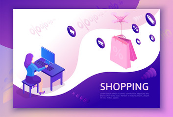 Sale isometric design, drone delivering parcel, online offer concept for ecommerce discount campaign, cyber monday landing page template, 3d vector illustration with pink box, violet background