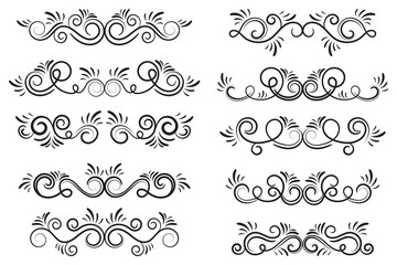 Set of curls and scrolls. Decorative divider elements for frames and books. Elegant swirl vector illustration.