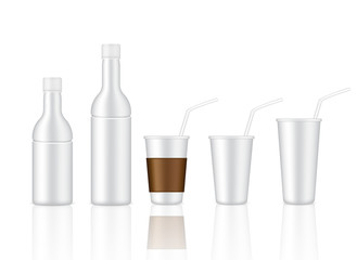 Mock up Realistic Plastic Glass and White Bottle for Drink, Alcohol, Cocktail, Wine Product Background Illustration