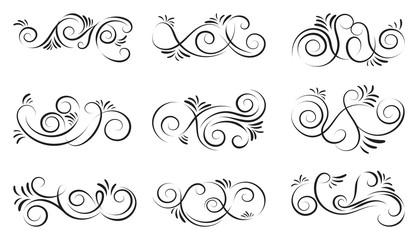 Ornamental design elements.Black dividers on white background. Vector illustration for design, postcard, menu, wedding invitation and books.