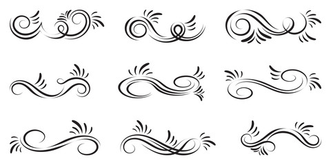 Swirl set of vector graphic elements for design, postcard, menu, wedding invitation, romantic style. Floral set of curls and scrolls. Vector illustration dividers and borders.