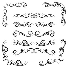 Ornamental design elements.Black dividers on white background. Vector illustration for design, postcard, menu, wedding invitation and books.
