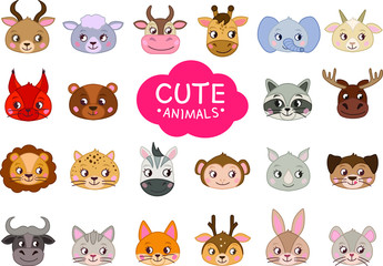 Set of vector cartoon cute animals. Vector illustration. . A collection of head animals in the children's style.