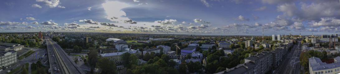 aerial view of street in city Tallinn Estonia
