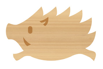 木目の猪 亥 年賀状