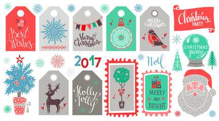 Christmas Holiday icons, tags, labels, marks, stickers