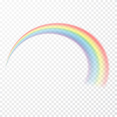 Transparent rainbow. Vector illustration. Realistic raibow on transparent background