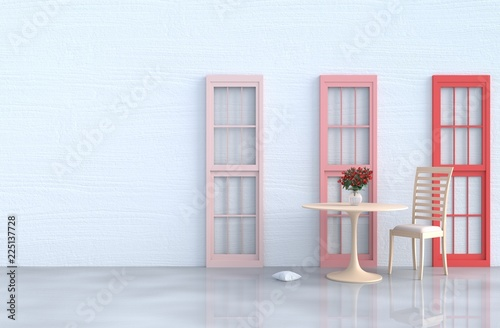 Excellent White Living Room Decor With Wood Chair Red And Pink Window Pabps2019 Chair Design Images Pabps2019Com