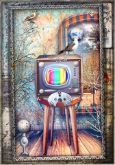 Foto op Canvas Imagination Inside room with vintage and steampunk television series