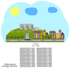 renewable energy. alternative energy sources icon. Ecological concept . Vector