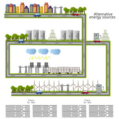 renewable energy. alternative energy sources icon. Ecological concept . Vecto