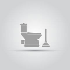 Toilet pan and plunger isolated vector objects