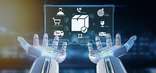 Cyborg hand holding a  Logistic delivery application screen 3d rendering
