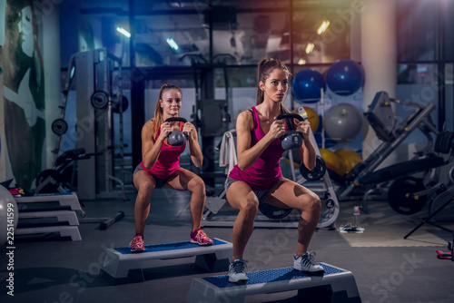girls working out in the gym
