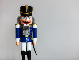 Handmade wooden Nutcracker Figurine - Soldier in blue Uniform, a typical Christmas Decoration