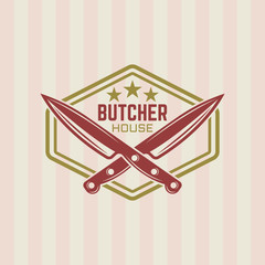 Butcher house vector vintage label or badge