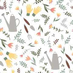 simple garden tools and plants. seamless pattern