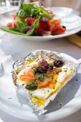 Traditional Greek Oven Baked Feta Cheese With Herbs