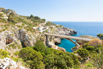 Apulia, Leuca, Grotto of Ciolo - Country road bridge of Grotto Ciolo