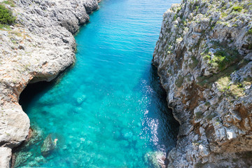 Apulia, Leuca, Grotto of Ciolo - Turquoise water at Grotto Ciolo