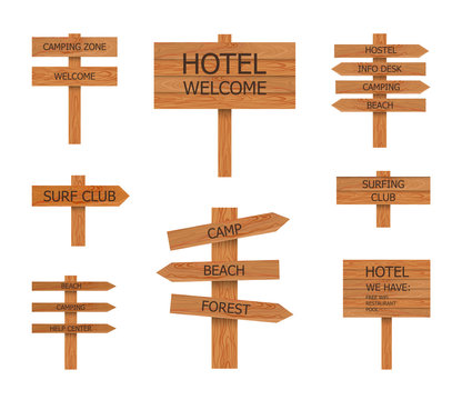 Vector Camping Wooden Signs Collection, Beach Pointer, illustrations.