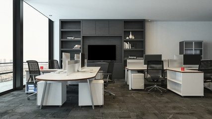 Office packed with modern shelves and tables