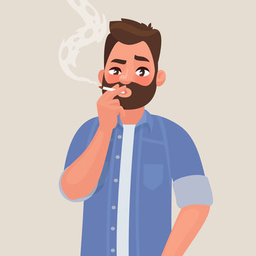 Man is smoking a cigarette. Tobacco dependence. The concept of an unhealthy lifestyle