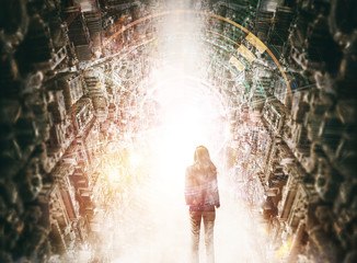 Abstract concept image of woman standing between two skylines