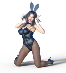 Bunny Girl. Sexy woman long legs in black fishnet tights. Black swimsuit and shoes. Conceptual fashion art. Blue eyes. Seductive candid pose. Photorealistic 3D render illustration. Isolate. Studio.
