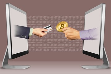 e-commerce concept, two hands from laptops. hand with credit card and hand with bitcoin. 3d illustration