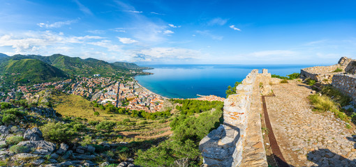 Wall Mural - Aerial view of Cefalu and Mediterranean sea from Norman Citadel, La Rocca park, Sicily island, Italy
