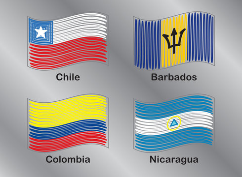 American Flags. Chili. Barbados. Colombia. Nicaragua. Vector Set