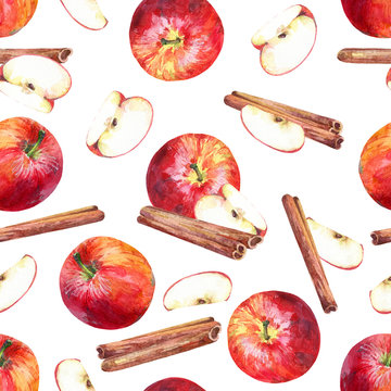 Seamless pattern with apples, slices and cinnamon sticks on white background. Hand painted in watercolor.