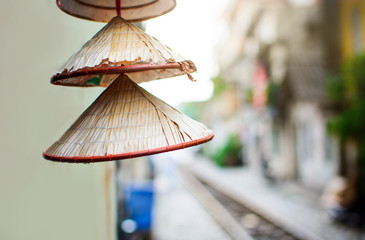 Vietnamese conical hats close up