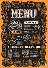 Coffee drink menu for restaurant with frame of hand-drawn fruits.