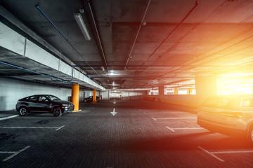 Creative background, underground parking, paid parking. Copy space. Fototapete