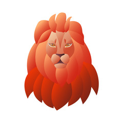 The head of a lion isolated on white background. Illustration with gradient