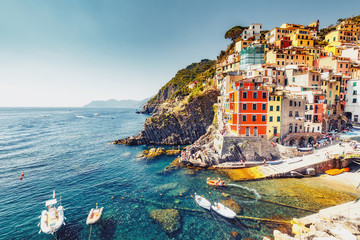 Beautiful landscape of famous Manarola village in Cinque Terre, Italy on a summer day. Scenic panorama view.