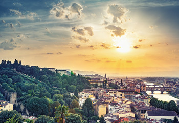 Beautiful sunset over Florence, Italy, with dramatic sky. Scenic travel background.