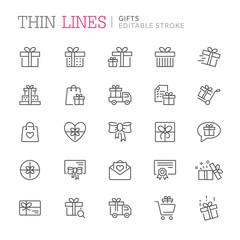 Collection of gifts thin line icons. Editable stroke