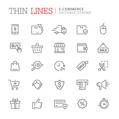Collection of shopping and e-commerce related line icons. Editable stroke