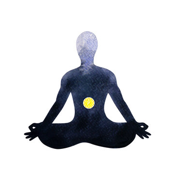 yellow solar plexus chakra human lotus pose yoga, abstract inside your mind mental, watercolor painting illustration design hand drawn