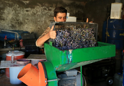 Isaac, grandson of Gorgis, an Iraqi Christian wine maker, uses a grape squeezing machine to squeeze grapes before they get filtered and ferment for 40 days in Dhiha village near Duhok
