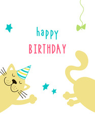 Background with cute cartoon cat and the inscription Happy Birthday. Vector template for greeting card or poster.