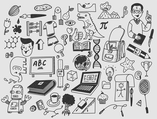 Learning and education Hand drawn doodle school items.