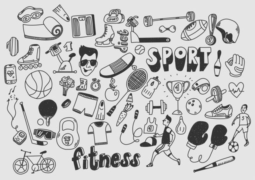 Sport fitness healthy lifestyle doodle hand drawn.