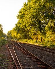 Bahnschiene mit Gleisweiche