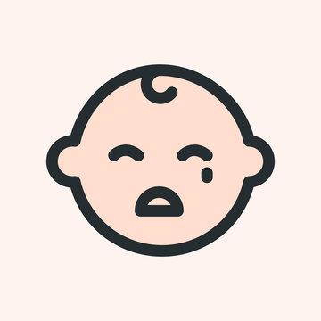 Crying Sad Baby Kid Child Minimalistic Flat Line Color Stroke Icon Pictogram Symbol