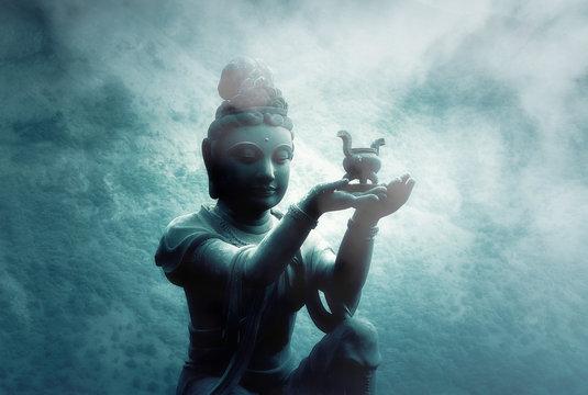 Foggy Night over Buddhist Statue at Po Lin Monastery  Lantau Island